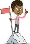 Flat Hand Drawn African American Man Cartoon Vector Character AKA Christopher - On Top