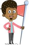 Flat Hand Drawn African American Man Cartoon Vector Character AKA Christopher - Checkpoint