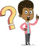 Flat Hand Drawn African American Man Cartoon Vector Character AKA Christopher - Question