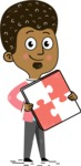 Flat Hand Drawn African American Man Cartoon Vector Character AKA Christopher - Puzzle