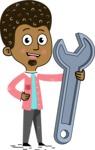 Flat Hand Drawn African American Man Cartoon Vector Character AKA Christopher - Repair