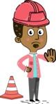 Flat Hand Drawn African American Man Cartoon Vector Character AKA Christopher - Under Construction 1