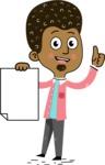 Flat Hand Drawn African American Man Cartoon Vector Character AKA Christopher - Sign 2