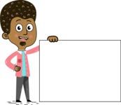 Flat Hand Drawn African American Man Cartoon Vector Character AKA Christopher - Sign 8