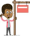 Flat Hand Drawn African American Man Cartoon Vector Character AKA Christopher - Sign 9