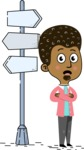 Flat Hand Drawn African American Man Cartoon Vector Character AKA Christopher - Crossroad