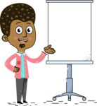 Flat Hand Drawn African American Man Cartoon Vector Character AKA Christopher - Presentation 1