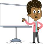 Flat Hand Drawn African American Man Cartoon Vector Character AKA Christopher - Presentation 2