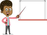 Flat Hand Drawn African American Man Cartoon Vector Character AKA Christopher - Presentation 3