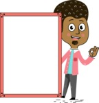 Flat Hand Drawn African American Man Cartoon Vector Character AKA Christopher - Presentation 4