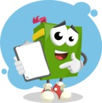 School Book Cartoon Vector Character AKA Jimmy Pagemark - Analytics Illustration
