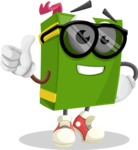 School Book Cartoon Vector Character AKA Jimmy Pagemark - Being Cool with Sunglasses