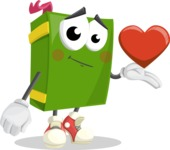 School Book Cartoon Vector Character AKA Jimmy Pagemark - Being Romantic With Heart
