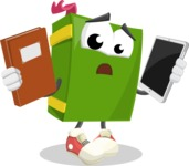 School Book Cartoon Vector Character AKA Jimmy Pagemark - Choosing between Book and Tablet