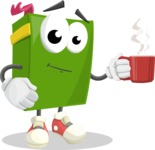 School Book Cartoon Vector Character AKA Jimmy Pagemark - Drinking Cup of Coffee