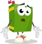 School Book Cartoon Vector Character AKA Jimmy Pagemark - Feeling Lost with Sad Face