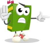 School Book Cartoon Vector Character AKA Jimmy Pagemark - Finger pointing with angry face