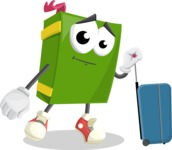 School Book Cartoon Vector Character AKA Jimmy Pagemark - Going to vacation with a Suitcase