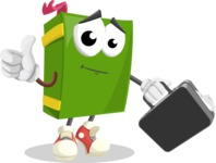 School Book Cartoon Vector Character AKA Jimmy Pagemark - Holding a Brifcase