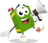 School Book Cartoon Vector Character AKA Jimmy Pagemark - Holding a Loudspeaker