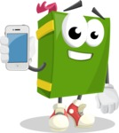 School Book Cartoon Vector Character AKA Jimmy Pagemark - Holding a Mobile Phone