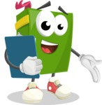 School Book Cartoon Vector Character AKA Jimmy Pagemark - Holding a Notepad