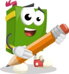 School Book Cartoon Vector Character AKA Jimmy Pagemark - Holding a Pencil