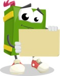 School Book Cartoon Vector Character AKA Jimmy Pagemark - Holding Blank Presentation Sign