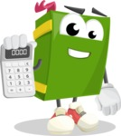 School Book Cartoon Vector Character AKA Jimmy Pagemark - Holding Calculator