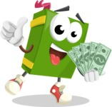 School Book Cartoon Vector Character AKA Jimmy Pagemark - Holding Cash Money Banknotes