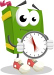 School Book Cartoon Vector Character AKA Jimmy Pagemark - Holding clock