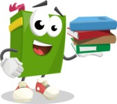 School Book Cartoon Vector Character AKA Jimmy Pagemark - Holding Education Books