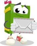 School Book Cartoon Vector Character AKA Jimmy Pagemark - Holding Mail Envelope