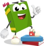 School Book Cartoon Vector Character AKA Jimmy Pagemark - Learning From Books