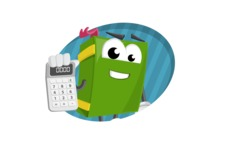 School Book Cartoon Vector Character AKA Jimmy Pagemark - Learning Math and Flat Background Illustration