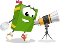 School Book Cartoon Vector Character AKA Jimmy Pagemark - Looking through telescope