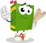 School Book Cartoon Vector Character AKA Jimmy Pagemark - Making Plans