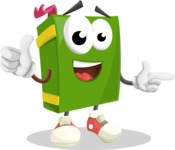 School Book Cartoon Vector Character AKA Jimmy Pagemark - Pointing and Smiling