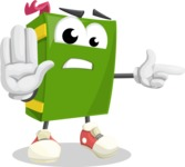 School Book Cartoon Vector Character AKA Jimmy Pagemark - Pointing with a Finger