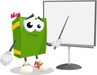 School Book Cartoon Vector Character AKA Jimmy Pagemark - Pointing with a Pointer on Blank Presentation Board