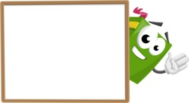 School Book Cartoon Vector Character AKA Jimmy Pagemark - Presenting on Blank Whiteboard Template