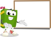 School Book Cartoon Vector Character AKA Jimmy Pagemark - Presenting on Whiteboard