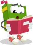 School Book Cartoon Vector Character AKA Jimmy Pagemark - Reading a Book