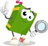 School Book Cartoon Vector Character AKA Jimmy Pagemark - Searching with magnifying glass