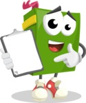 School Book Cartoon Vector Character AKA Jimmy Pagemark - Showing a Notepad