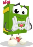 School Book Cartoon Vector Character AKA Jimmy Pagemark - Showing Love with Heart