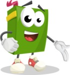 School Book Cartoon Vector Character AKA Jimmy Pagemark - Showing with a Hand