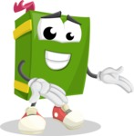 School Book Cartoon Vector Character AKA Jimmy Pagemark - Showing with Both Hands