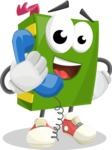 School Book Cartoon Vector Character AKA Jimmy Pagemark - Talking on Phone