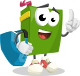 School Book Cartoon Vector Character AKA Jimmy Pagemark - Traveling with Suitcase